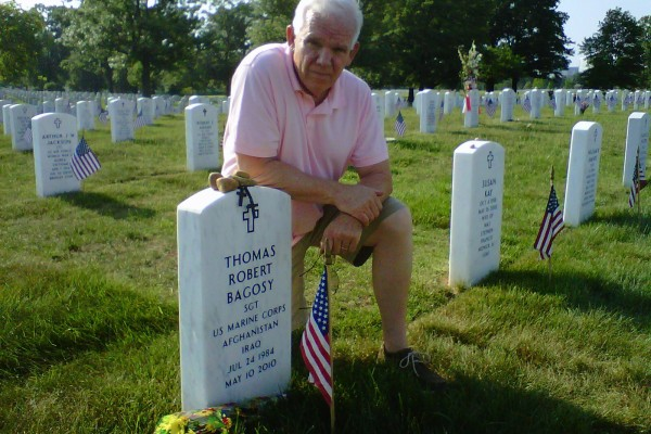 Robert Bagosy at his son's grave in Arlington National Cemetery. (Courtesy Robert Bagosy)